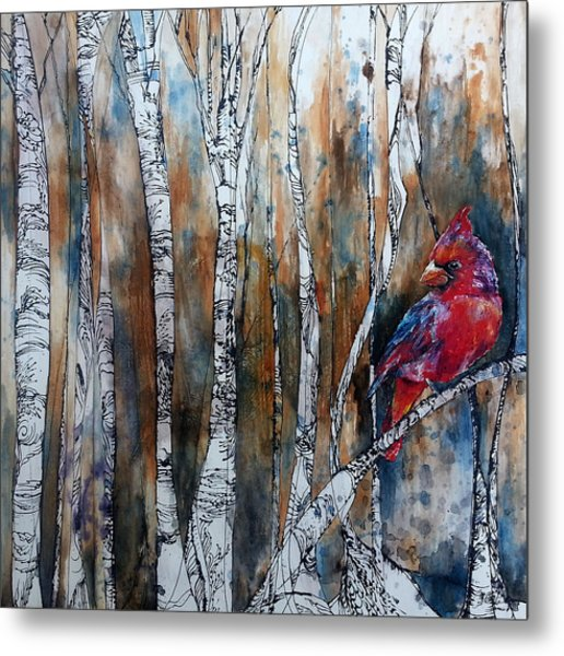 Cardinal In Birch Tree Forest Metal Print