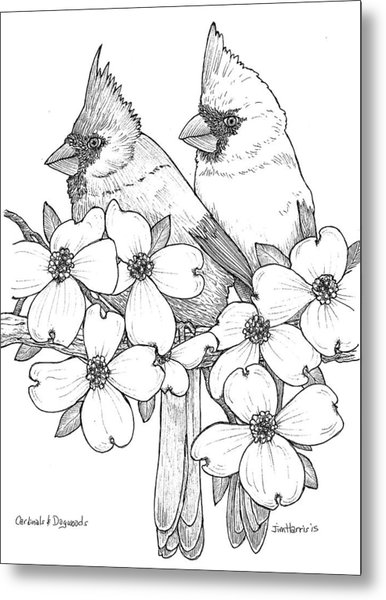 Cardinals And Dogwoods Metal Print