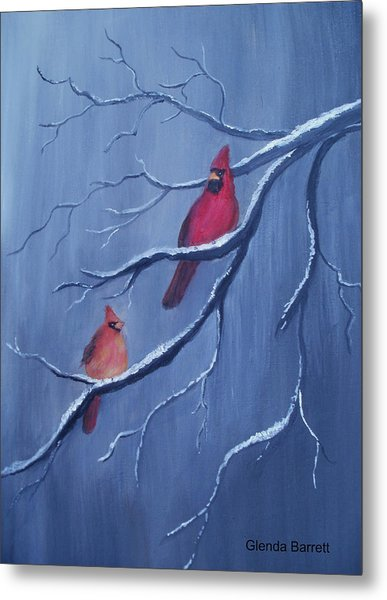 Cardinals Metal Print by Glenda Barrett