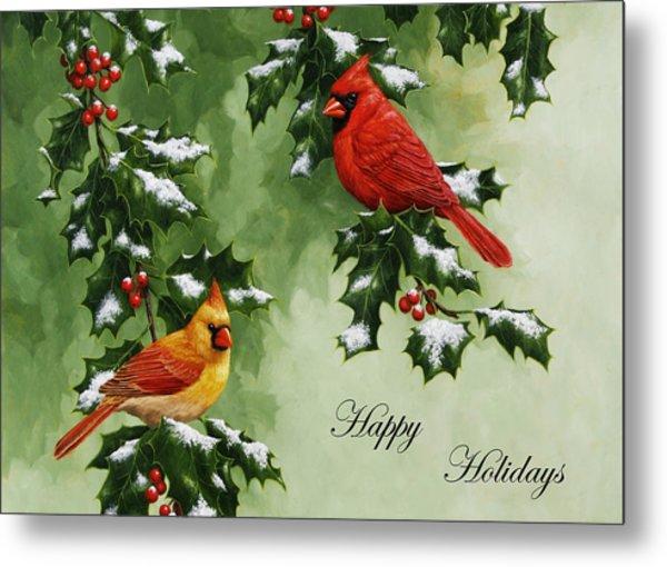 Cardinals Holiday Card - Version With Snow Metal Print