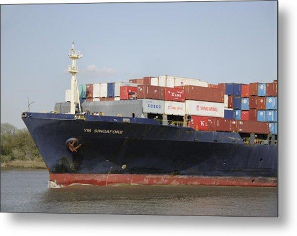 Cargo Ship On The River Metal Print by Bradford Martin