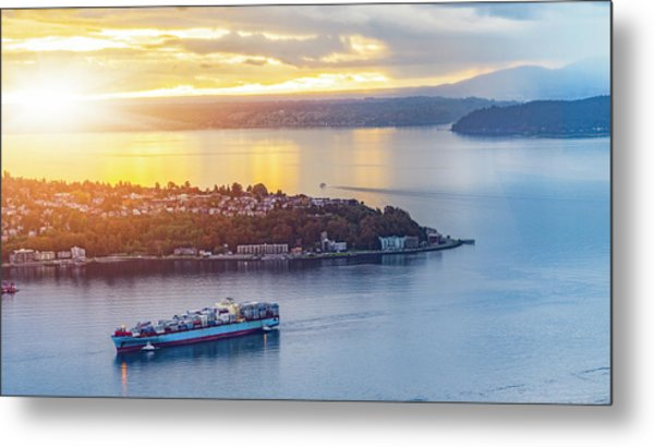 Cargo Ship Through Puget Sound In Sunset Metal Print by Onest Mistic