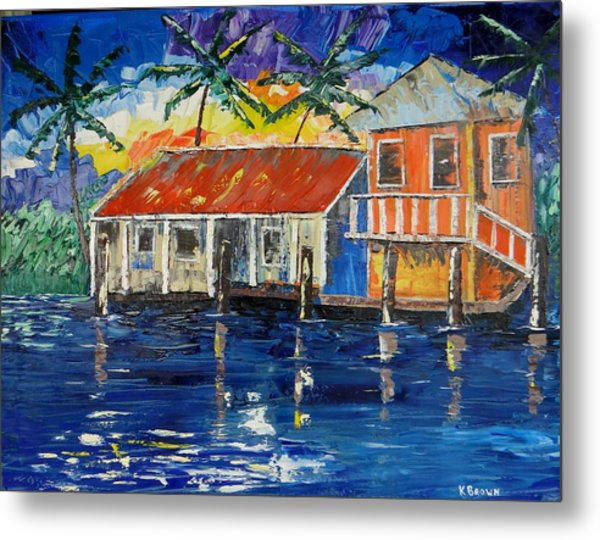 Metal Print featuring the painting Caribbean House by Kevin  Brown