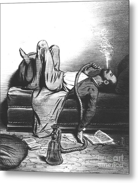 Caricature Of The Romantic Writer Searching His Inspiration In The Hashish Metal Print