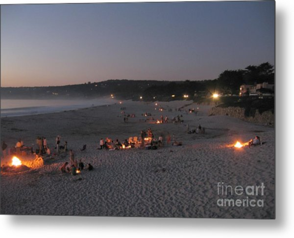 Carmel Beach Bonfires Metal Print
