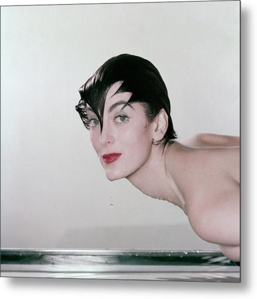 Carmen Dell'orefice Demonstrating Waterproof Metal Print by John Rawlings