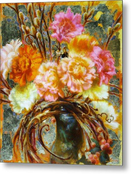 Carnation And Bee Metal Print by John Murdoch