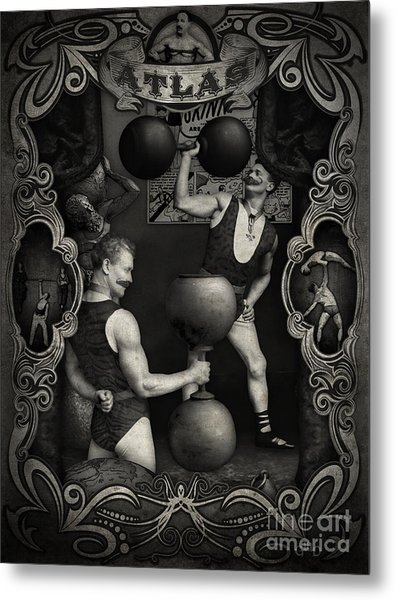 Carnival Banner - Atlas The Strong Man Metal Print