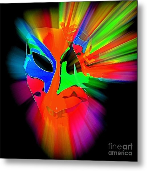 Carnival Mask In Abstract Metal Print