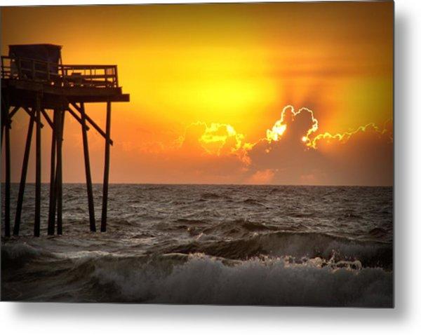 Carolina Beach Fishing Pier Sunrise Metal Print