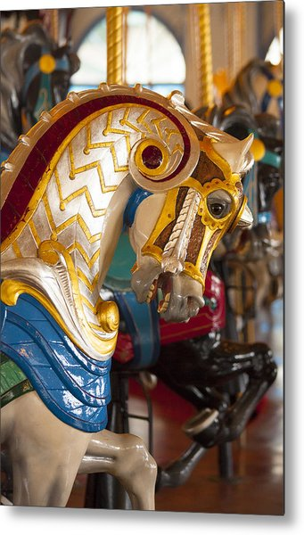 Colorful Carousel Merry-go-round Horse Metal Print