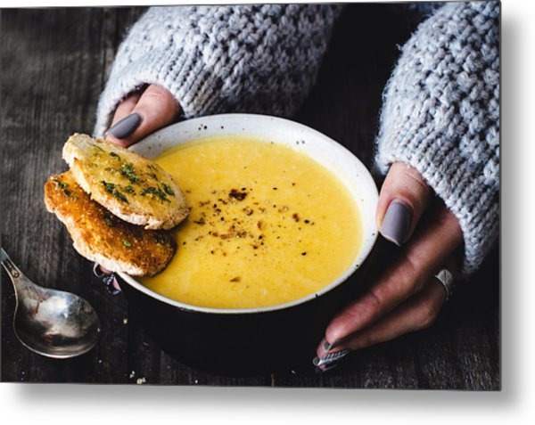 Carrot Pumpkin Cream Soup With Garlic Bread Metal Print by Arx0nt