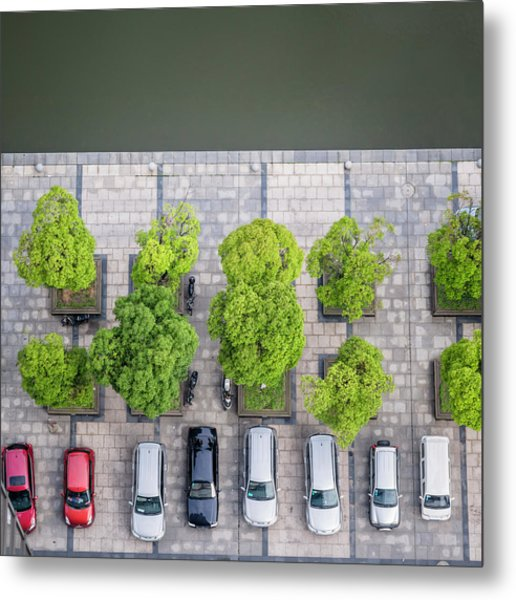 Cars On A Parking Lot Metal Print by Chinaface