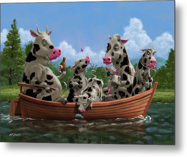 Cartoon Cow Family On Boating Holiday Metal Print