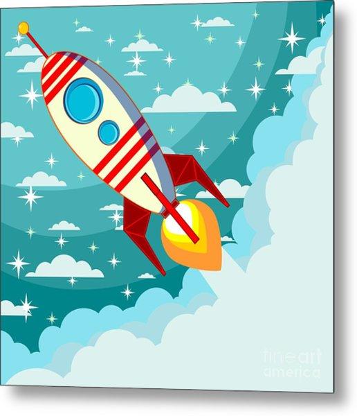 Cartoon Rocket Taking Off Against The Metal Print