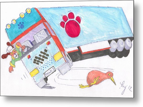 Cartoon Truck Lorry Metal Print
