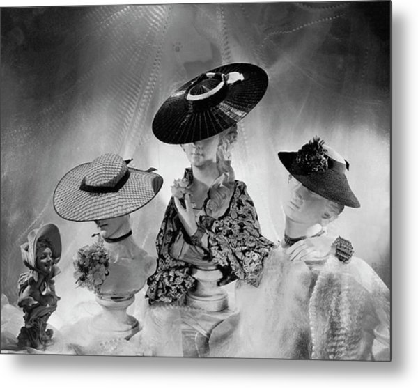 Cartwheel-style Hats By Wanamaker And J.w Metal Print