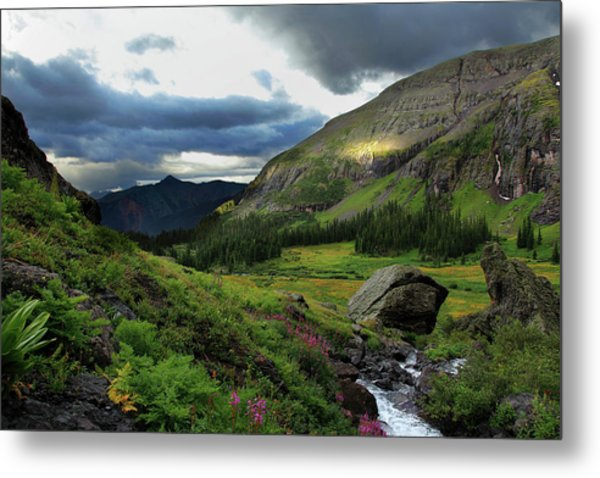 Cascade In Lower Ice Lake Basin Metal Print by A. V. Ley