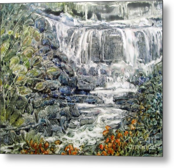 Cascade With A Touch Of Orange Metal Print