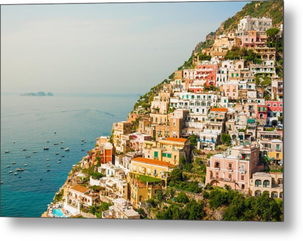Cascades Of Positano City Metal Print