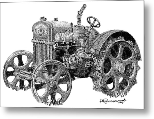 Metal Print featuring the drawing Case Tractor by Rob Christensen