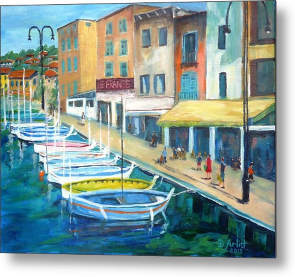 Cassis Waterfront Stroll Metal Print