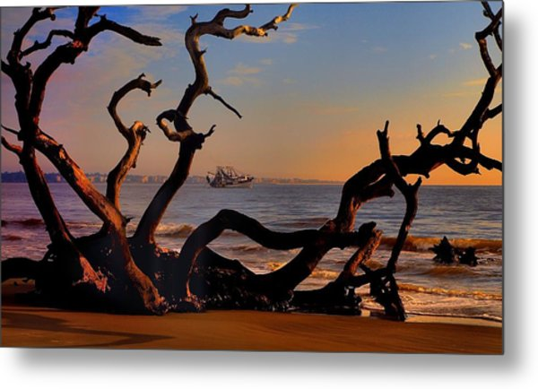 Casting Fate To The Water Metal Print