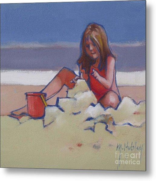 Castle Buiilding Sandcastles On The Beach Metal Print