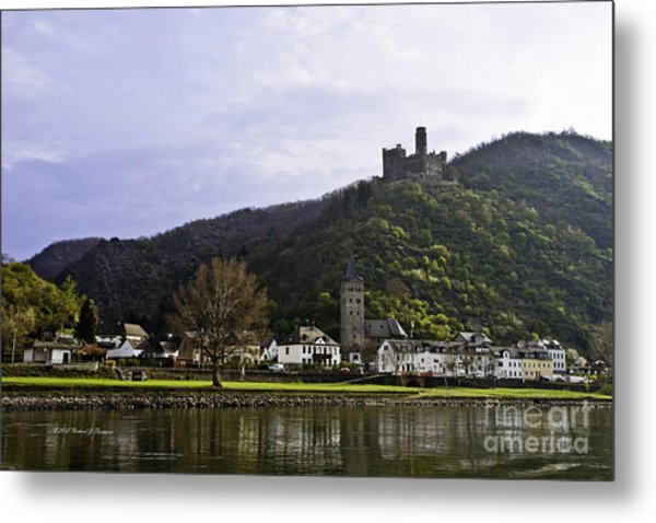 Castle On Hill Above Town Metal Print