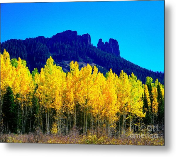 Autumn Castle Rock Aspens Metal Print