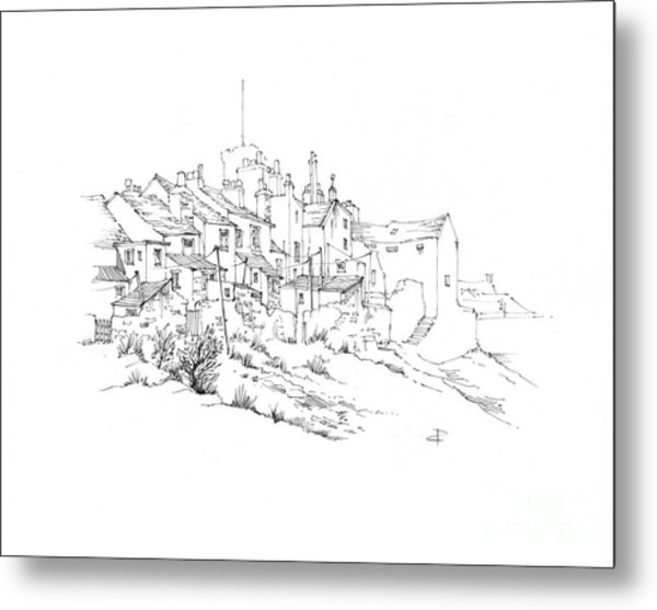 Castletown Coastal Houses Metal Print