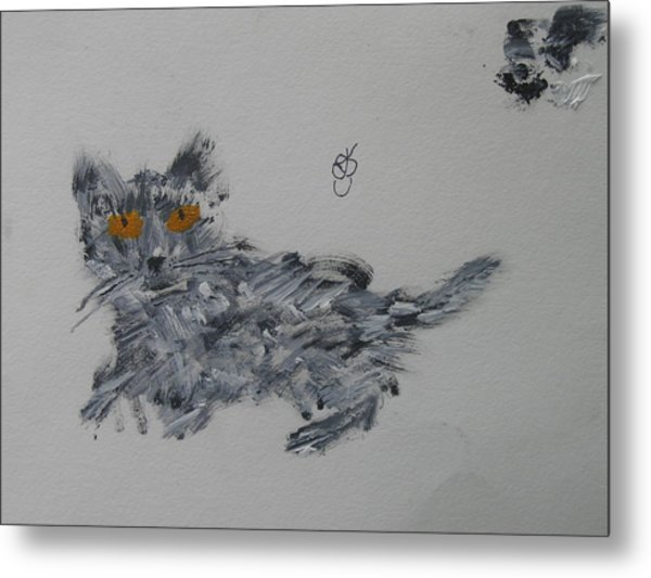 Metal Print featuring the painting Cat by AJ Brown