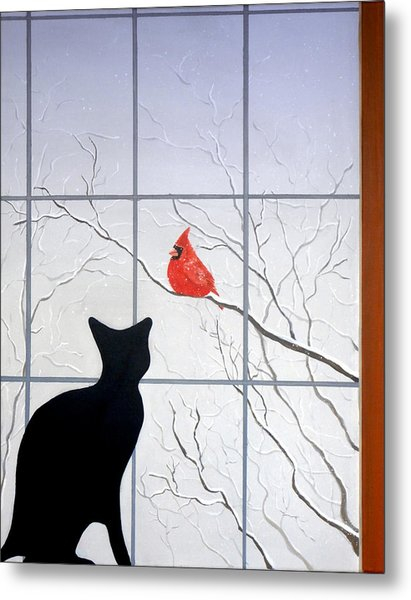 Cat And Cardinal Metal Print