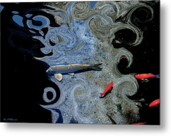 Cat And Koi Blue Metal Print