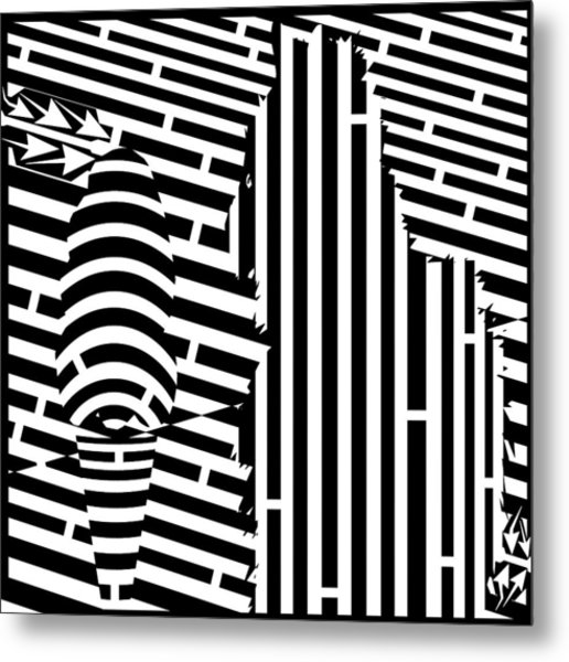 Cat And The Ice Cream Cone Maze Metal Print by Yonatan Frimer Maze Artist