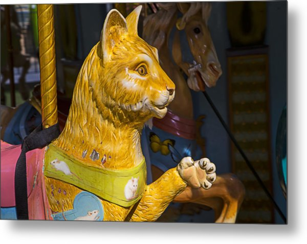 Cat Carrousel Ride Metal Print