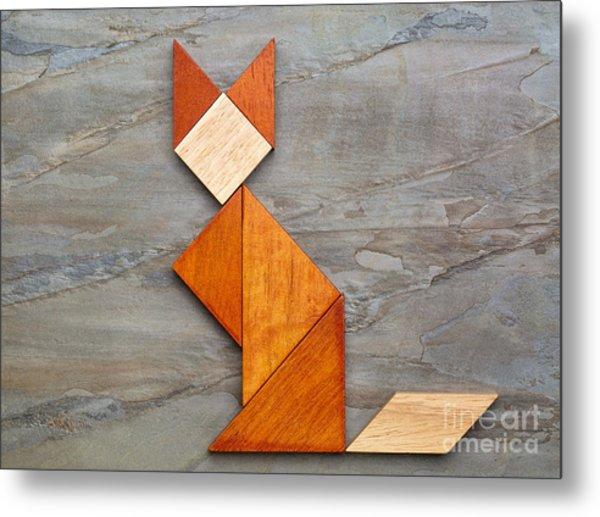 Cat Figure - Tangram Abstract Metal Print