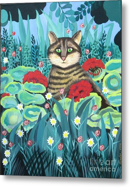 Cat Hiding In The Rainforest Metal Print
