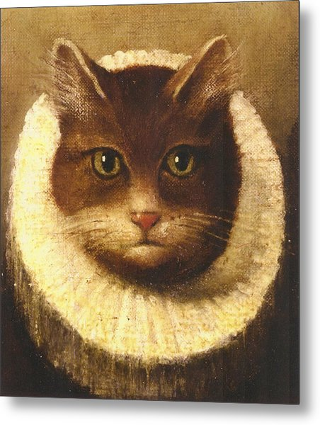 Cat In A Ruff Metal Print