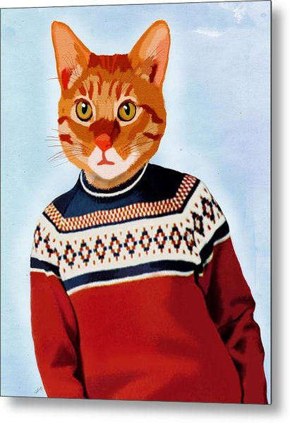Cat In A Ski Jumper Metal Print by Kelly McLaughlan