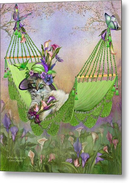 Cat In Calla Lily Hat Metal Print