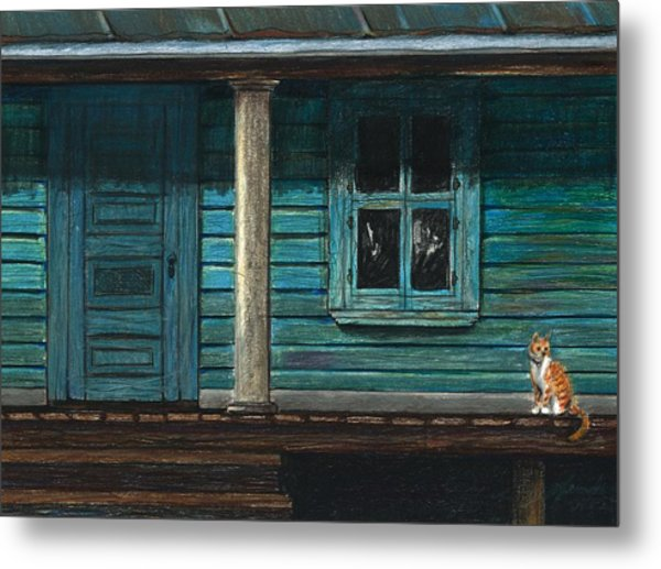 Cat On The Porch Metal Print