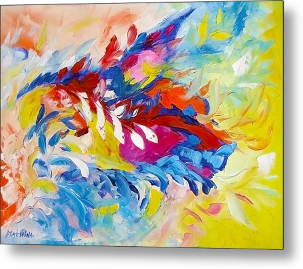Cat Panther Painting Abstract Art Bright Colors Metal Print