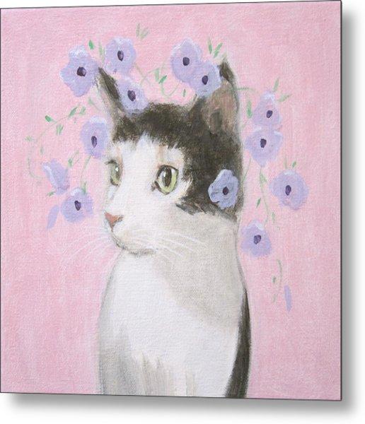 Cat With Purple Flowers Metal Print
