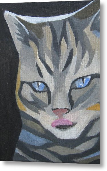 Cat With Tongue  Metal Print