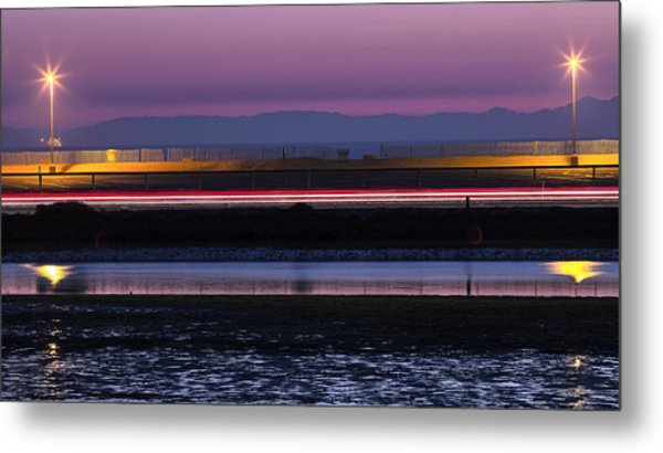 Catalina Bolsa Chica Pch Light Trails And The Wetlands By Denise Dube Metal Print