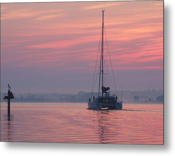 Catamaran At Dawn Metal Print