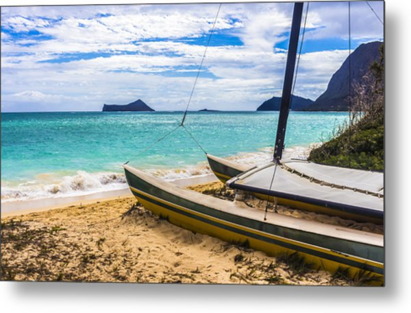 Catamaran On Waimanalo Beach Metal Print