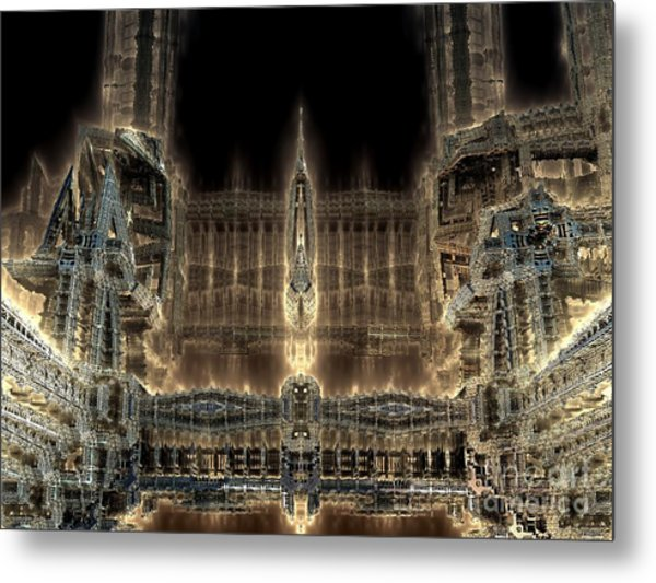 Cathedral By Night Metal Print by Bernard MICHEL
