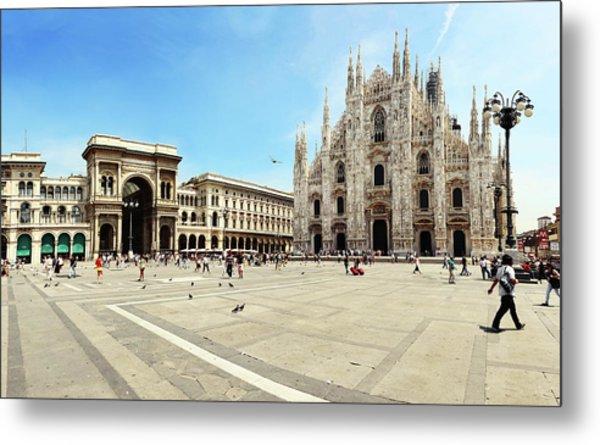 Cathedral Of Milan Galleria Vittorio Metal Print by Paul Biris
